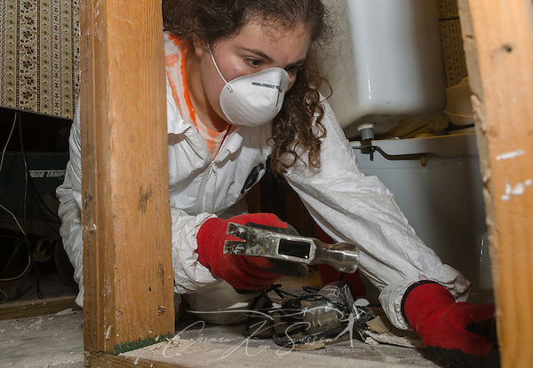 Annie Pucciarelli, a member of First Baptist Church of Brandon in Brandon, Florida, pulls nails while mudding out a home, Sept. 4, 2016, in Greenwell Springs, Louisiana. Pucciarelli was among 450 students from six states who gathered in Baton Rouge and nearby communities on Labor Day weekend to help survivors of the mid-August flood. Pucciarelli graduated from the University of Southern Florida and remains active with the college's Baptist Collegiate Ministries. (Photo by Carmen K. Sisson) (Carmen K. Sisson/Cloudybright)