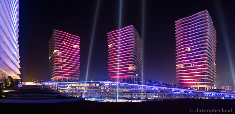 Light is Here - Istanbul Light Festival main piece by Kari Kola. Zorlu Center, Istanbul, Turkey. (Christopher Lund/©2015 Christopher Lund)