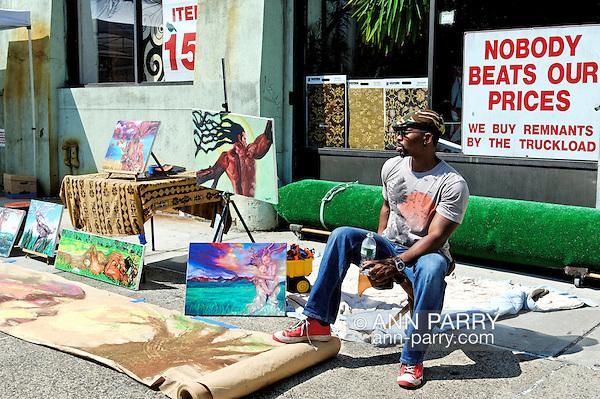 Brooklyn, New York, June 6, 2009. Artist selling his paintings and drawings outdoors during Atlantic Avenue ArtWalk. (Ann Parry/Ann Parry, ann-parry.com)
