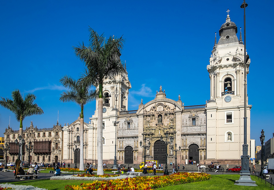 LIMA, PERU - CIRCA APRIL 2014: View of the Lima Cathedral from the Plaza Mayor in the Lima Historic Centre in Peru (Daniel Korzeniewski)