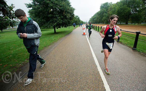 13 SEP 2013 - LONDON, GBR - Mathilde Pauls (GBR) of Great Britain runs through Hyde Park in London, Great Britain during the ITU 2013 World Age Group Sprint Distance Triathlon Championships (PHOTO COPYRIGHT © 2013 NIGEL FARROW, ALL RIGHTS RESERVED) (NIGEL FARROW/COPYRIGHT © 2013 NIGEL FARROW : www.nigelfarrow.com)