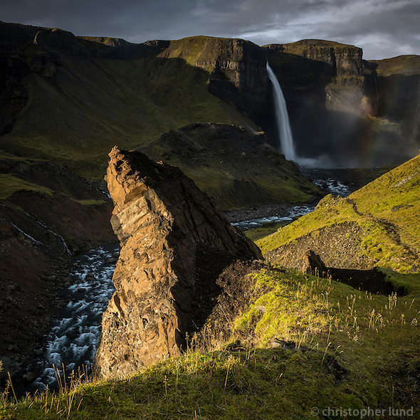Háifoss waterfall in Iceland. The river Fossá, a tributary of Þjórsá, drops here from a height of 122 m. This is the second highest waterfall of Iceland. (Christopher Lund/©2014 Christopher Lund)