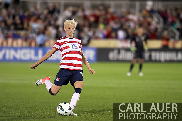 September 19, 2012 Commerce City, CO.  USA m Megan Rapinoe (15) takes a free kick during the Soccer Match between the USA Women's National Team and the Women's Australian team at Dick's Sporting Goods Park in Commerce City, Colorado (Carl Auer/Cal Sport Media)