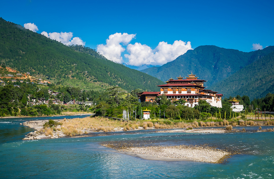 PUNAKHA, BHUTAN - CIRCA October 2014: View of the Punakha Dzong, a landmark in Punakha, Bhutan (Daniel Korzeniewski)