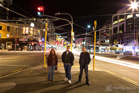 1st stop as part of the International Dark Sky Week photo project at Courtenay Place. Left to right - Leanne, Chris, and James ready to observe the effects of light pollution on Wellington night skies. (Mark Gee)