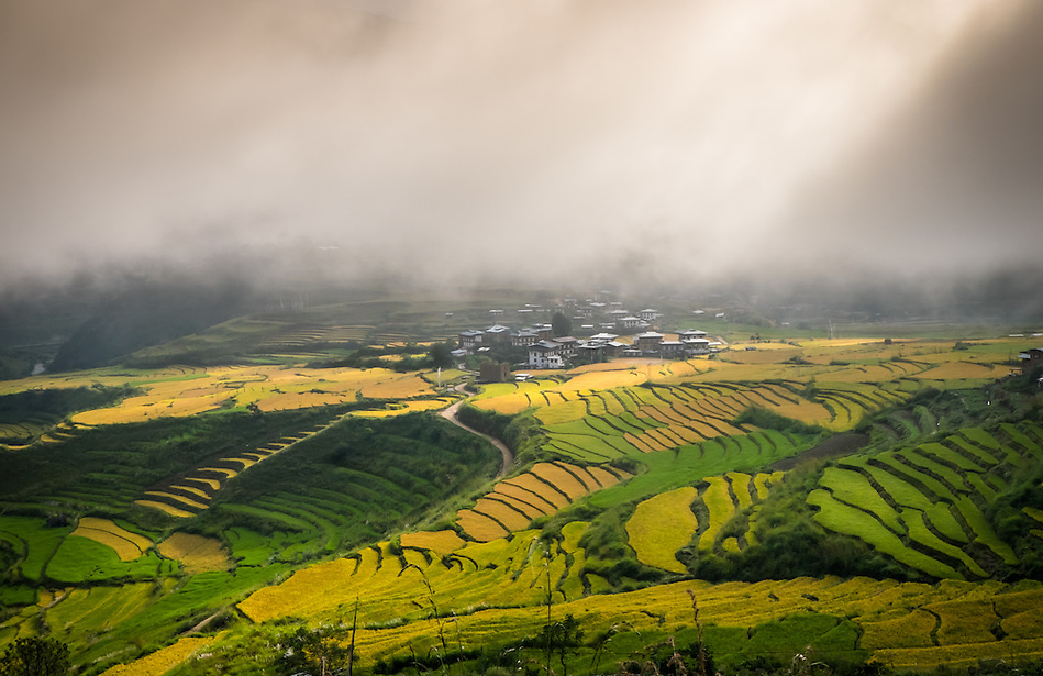 PUNAKHA, BHUTAN - CIRCA October 2014: View of village on the mountains in Punakha, Bhutan (Daniel Korzeniewski)