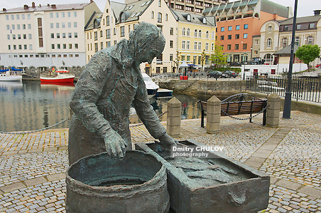 ALESUND, NORWAY - JUNE 03, 2010: Exterior of the Herring woman monument in Alesund, Norway. Fishing (especially herring) industry historically was very important for Alesund. (Dmitry Chulov)