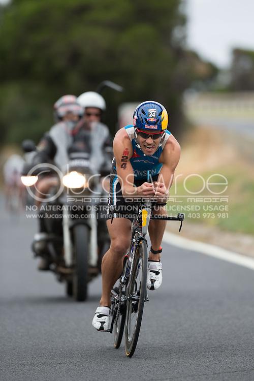 Courtney Atkinson (AUS), March 23, 2014 - Ironman Triathlon : Bike Course. Ironman Melbourne Race, Bike Cycle Course Between Frankston And Ringwood Tunnel, Melbourne, Victoria, Australia. Credit: Lucas Wroe (Lucas Wroe)