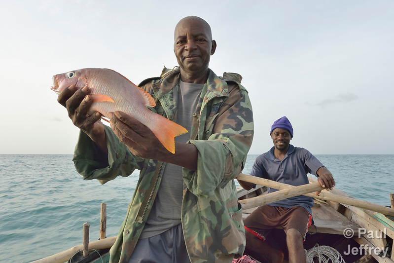 A year after Hurricane Matthew ravaged parts of Haiti, Marcilien Georges pulls in a fish in a small fishing boat off the coast of northwestern Haiti near the village of Plateforme. Derlien Hendy is rowing. The village was ravaged in the storm, and Lutheran World Relief, a member of the ACT Alliance, has helped the community rebuild its economy with fishing materials, a solar-powered refrigerator room for storing their catch, and other assistance. (Paul Jeffrey)