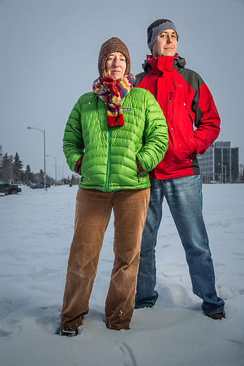 Biologists, Tammy Wilson and Josh Leffler, Delaney Park Strip, Anchorage (Clark James Mishler)