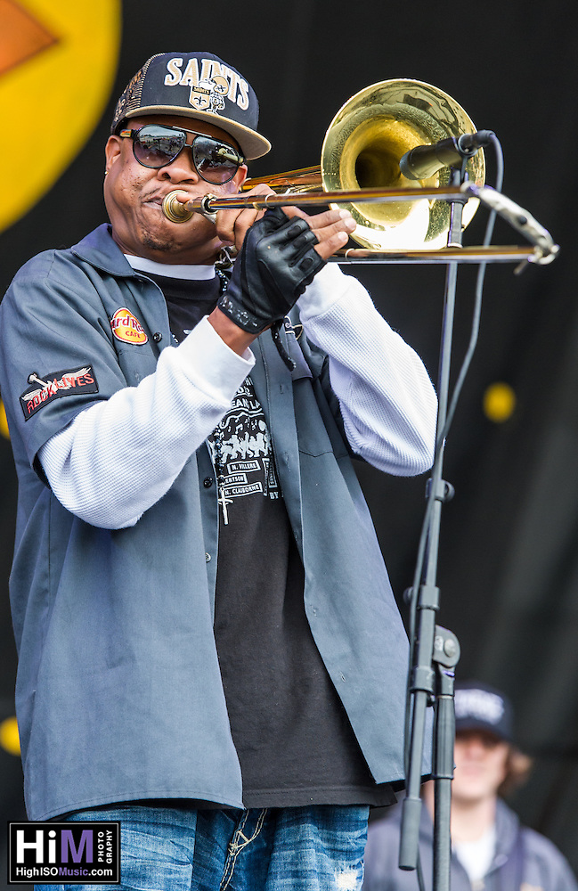 The Corey Henry.& Treme.Funktet perform at the 2013 Jazz and Heritage Festival in New Orleans, LA on May 3, 2013.  © HIGH ISO Music, LLC / Retna, Ltd. (HIGH ISO Music, LLC)