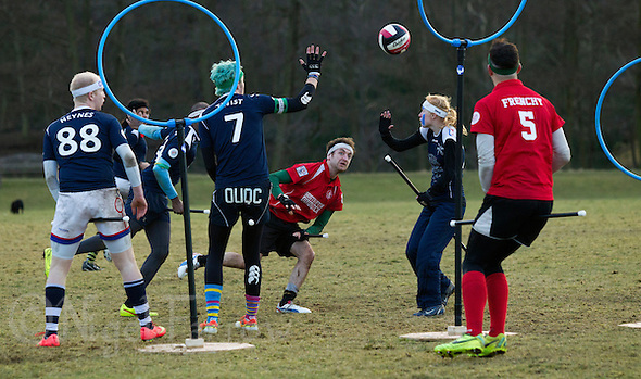 08 MAR 2015 - NOTTINGHAM, GBR - Southampton Quidditch Club 1's Robbie Young (centre) shoots during the 2015 British Quidditch Cup final against Radcliffe Chimeras at Woollaton Hall and Deer Park in Nottingham, Great Britain. Southampton Quidditch Club 1 eventually beat reigning European Cup holders Radcliffe Chimeras 120-90 to take the title (PHOTO COPYRIGHT © 2015 NIGEL FARROW, ALL RIGHTS RESERVED) (NIGEL FARROW/COPYRIGHT © 2015 NIGEL FARROW : www.nigelfarrow.com)
