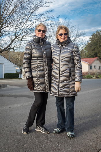 """It's the kind of day for a puffy coat."" -Helga Kimball and Marilyn Glaim are out for a walk on Cedar Street on a brisk morning on in Calistoga (© 2017 Clark James Mishler)"