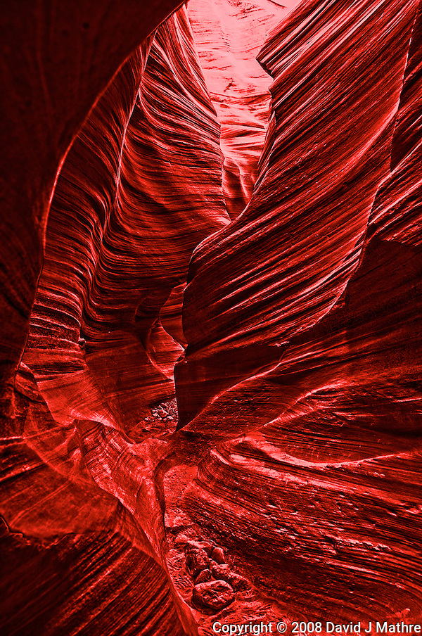 Lower Antelope Canyon, Page Arizona. Image taken with a Nikon D3 and 24 mm f/3.5 PC-E lens (ISO 200, 24 mm, f/5.6, 0.1-0.6 sec). HDR composite processed from 5 images using United Color HDR Express (Retina Burn profile) (David J Mathre)