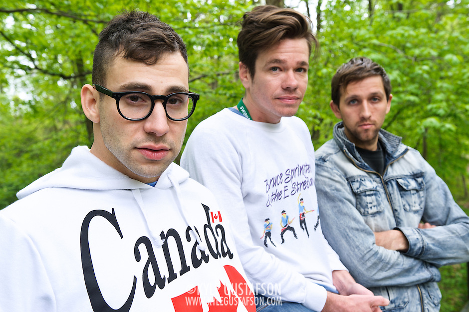 COLUMBIA, MD- April 28, 2012 - Jack Antonoff, Nate Ruess and Andrew Dost of fun. pose for a portrait  before gates open at the 2012 Sweetgreen Festival at Merriweather Post pavilion in Columbia, MD(photo by Kyle Gustafson) (Kyle Gustafson/Photo by Kyle Gustafson)