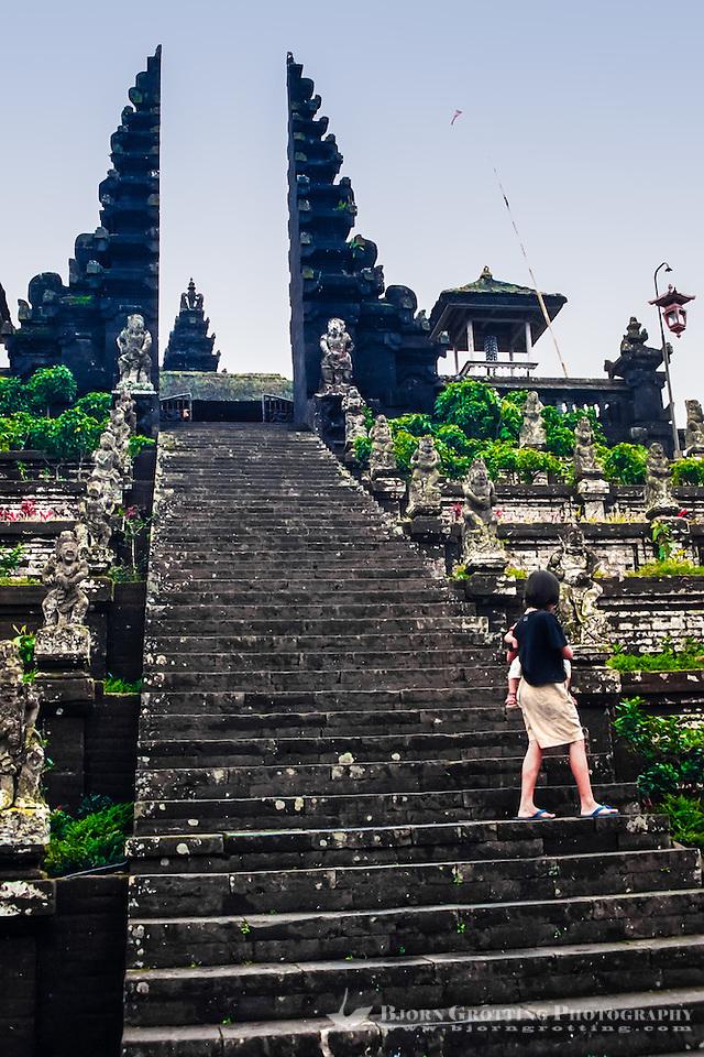 Bali, Karangasem, Besakih. The Mother Temple of Besakih, or Pura Besakih. A stairway leads up to a split gate. (Photo Bjorn Grotting)