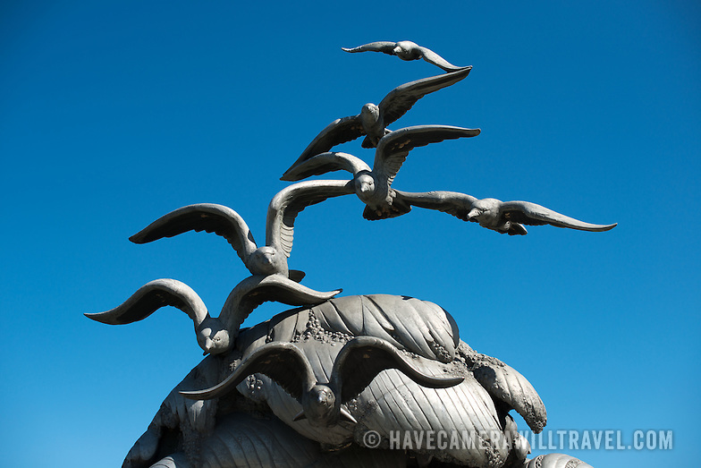 Navy Marine Memorial in Arlington VA Seagulls Against Blue Sky L121200500 Navy Merchant Marine Memorial