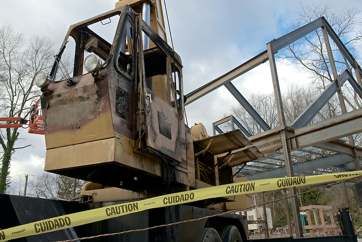 Signs of vandalism are show at the construction site of the Quaker Meeting House in Chestnut Hill. ..The operating cabin of a construction crane is rendered useless by fire. The crane is parked on the construction site of the future new Quakers Meeting House in Chestnut Hill. (Access to additional material on request) (Bas Slabbers)