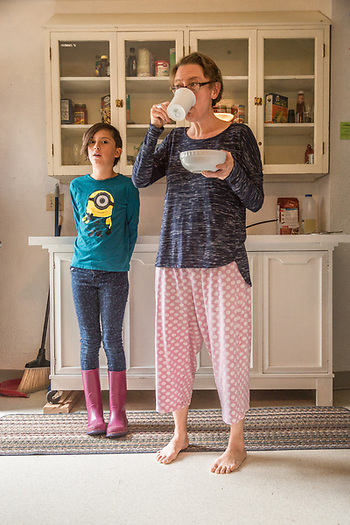 """We don't like mornings when we have to rush."" -Printmaker and photographer Jessica Krichels with her nine year old daughter Elia at the Sitka Fine Arts Camp in Sitka, Alaska (Clark James Mishler)"