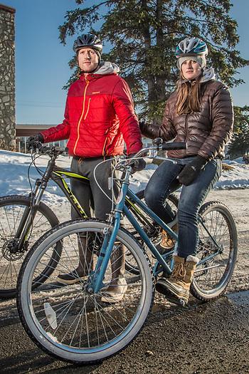 Kait Reiley and Dave Kanaris on Tenth Avenue near M Street, Anchorage (Clark James Mishler)