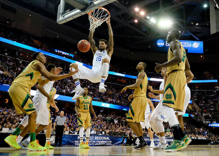 Mar 28, 2015; Cleveland, OH, USA; Kentucky Wildcats forward Willie Cauley-Stein (15) dunks against the Notre Dame Fighting Irish in the finals of the midwest regional of the 2015 NCAA Tournament at Quicken Loans Arena. Mandatory Credit: Rick Osentoski-USA TODAY Sports (Rick Osentoski/Rick Osentoski-USA TODAY Sports)