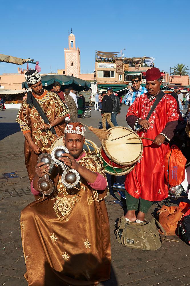Musicians in the Jemaa el-Fnaa square in  Marrakech, Morocco (Paul E Williams)