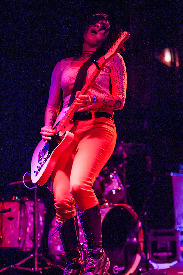San Antonio's Girl in a Coma played The New Parish in Oakland, California on Monday June 10, 2013. Jenn Alva (bass), Phanie Diaz (drummer), and Nina Diaz (lead vocalist and guitarist) are signed to Joan Jett's Blackheart Records. (bryan farley)