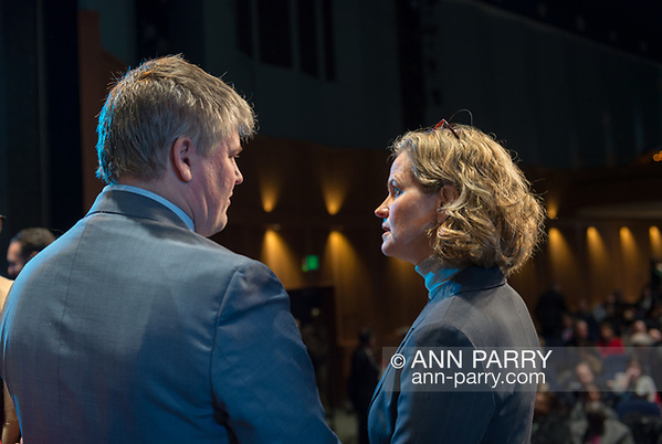 Hempstead, New York, USA. January 1, 2018. L-R, KEITH CORBETT and LAURA CURRAN are on-stage before start of swearing-In of Laura Gillen and Sylvia Cabana, at Hofstra University. (© 2018 Ann Parry/Ann-Parry.com)