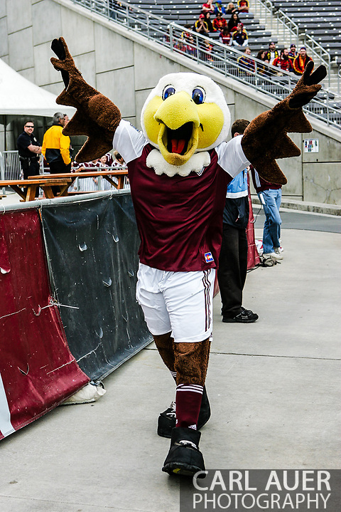 April 6th, 2013 - Edson the Eagle, a mascot for  the Colorado Rapids prior to the start of action in the MLS match between Real Salt Lake and the Colorado Rapids at Dick's Sporting Goods Park in Commerce City, CO (Carl Auer/Newsport)