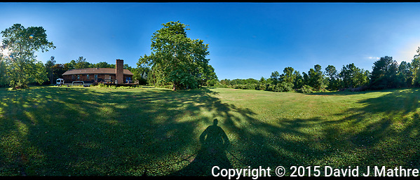 Panorama (360-degree) View of My Backyard. Composite of 37 images taken with a Fuji X-T1 camera and Bower 8 mm f/2.8 fisheye lens (ISO 200, 8 mm, f/16, 1/30 sec). Raw images processed with Capture One Pro and AutoPano Giga Pro. (David J Mathre)