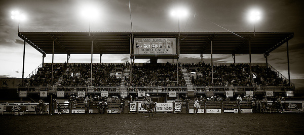 Jacobs Crawley during a saddle bronc ride in Cody, Wyoming. (Darren Carroll)
