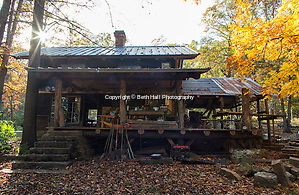 View of the back of the home of Robert Runyon in Sugar Tree Hollow in Winslow, Arkansas, for Out Here Magazine. Photo by Beth Hall (Beth Hall)