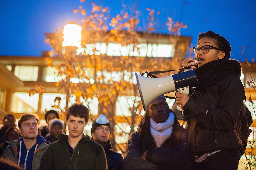 12/5/14 – Somerville, MA – Tufts senior, Amber Rose Johnson addresses the protesters during the Davis Square March which went from Tufts University, through Davis Square, and down through Cambridge to the Harvard Bridge on December 5th, 2014. (Nicholas Pfosi / The Tufts Daily) (Nicholas Pfosi / The Tufts Daily)