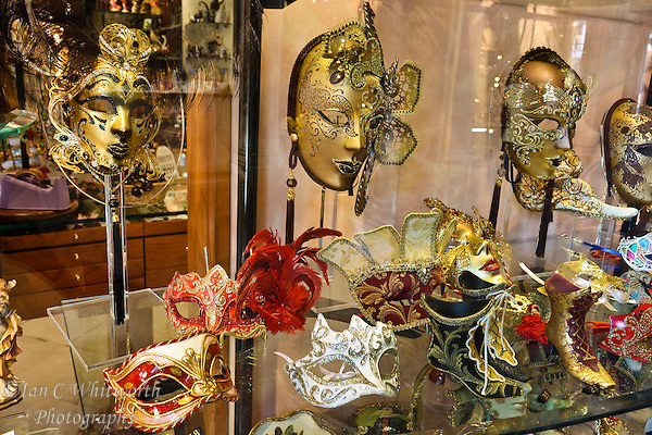 Venice masks in a shop window (Ian C Whitworth)