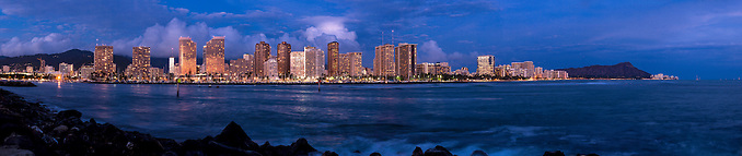 Super high resolution 5x1 panorama of Waikiki, Hawaii skyline at evening. For wall mural applications up to 30 ft. (Douglas Page)