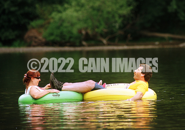 People tubing down the Delaware River  in Tinicum, Pennsylvania. (Photo by William Thomas Cain/Cain Images) (William Thomas Cain)