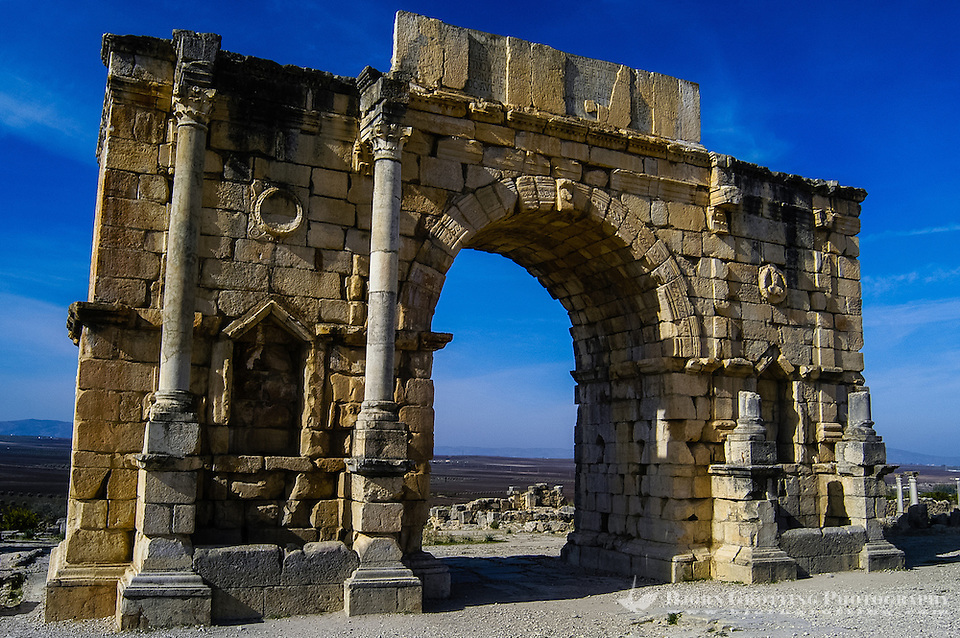 Volubilis is an archaeological roman site in Morocco situated near Moulay Idriss. Triumphal Arch in Volubilis. (Bjorn Grotting)