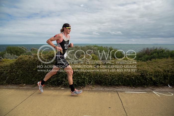 David Dellow (AUS), March 23, 2014 - Ironman Triathlon : Run Course. Ironman Melbourne Race, Run Course Between Frankston And St Kilda, Melbourne, Victoria, Australia. Credit: Lucas Wroe (Lucas Wroe)