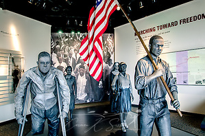 "Bronze statues depicting the foot soldiers of the civil rights movement's Selma to Montgomery march are displayed at Lowndes Interpretive Center, Feb. 3, 2015, in Hayneville, Ala. Dallas County Sheriff Jim Clark, Alabama state troopers, and newly deputized local citizens attacked civil rights demonstrators as they attempted to cross Selma's Edmund Pettus Bridge, March 7, 1965. More than 60 protesters were hospitalized due to their injuries, and the day became known as ""Bloody Sunday."" The violent confrontation marked a pivotal turning point in the Civil Rights movement.  On March 21, 1965, activists crossed the Edmund Pettus Bridge and marched 54 miles to the Alabama State Capitol in Montgomery. The Voting Rights Act was passed, Aug. 6, 1965, outlawing poll taxes, literacy tests, and other methods used to prevent blacks from voting. (Photo by Carmen K. Sisson/Cloudybright) (Carmen K. Sisson/Cloudybright)"