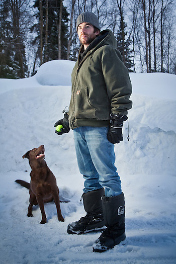 Nathan James and his dog, Olivia, near Westchester Lagoon, Anchorage (Clark James Mishler)