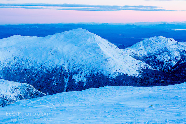 Mount Adams (left) and Mount Madison at dawn as seen from the summit of Mount Washington in New Hampshire's White Mountains. (Jerry Monkman)