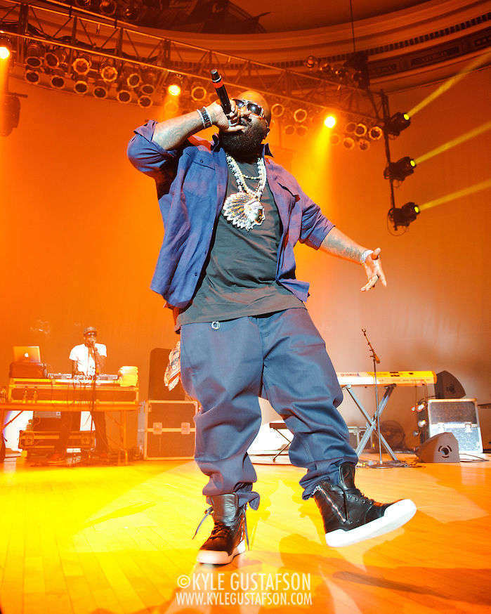 WASHINGTON, DC - February 23rd, 2012 - Rick Ross, recently named &quot;The Hottest MC In The Game&quot; for 2011 by MTV, performs at DAR Constitution Hall in Washington, D.C. (Photo by Kyle Gustafson/For The Washington Post) (Kyle Gustafson/FTWP)