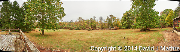 Backyard Panorama. Composite of 13 images taken with a Nikon D700 camera and 28 mm f/1.8 lens (ISO 200, 28 mm, f/8, 1/100 sec). Raw images processed with Capture One Pro and AutoPano Giga Pro. (David J Mathre)