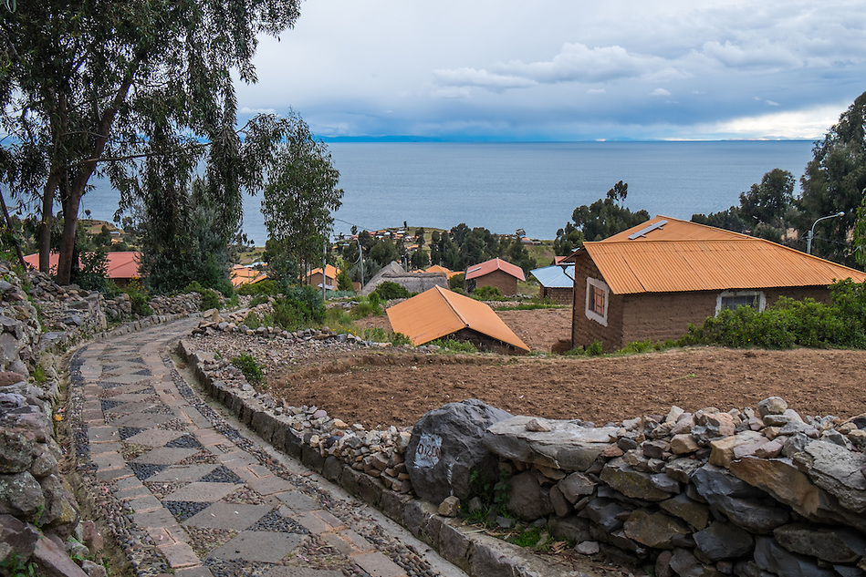 View of houses and path in Amantani Island in Lake Titicaca, Peru. (Daniel Korzeniewski)
