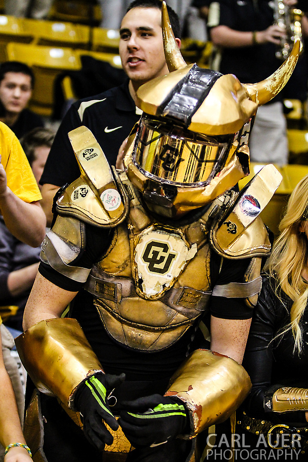 January 5th, 2014:  Colorado Student Section (C-Unit) member Buff Man prior to the start of action in the NCAA Basketball game between the Oregon Ducks and the University of Colorado Buffaloes at the Coors Events Center in Boulder, Colorado (Carl Auer/ZUMAPRESS.com)
