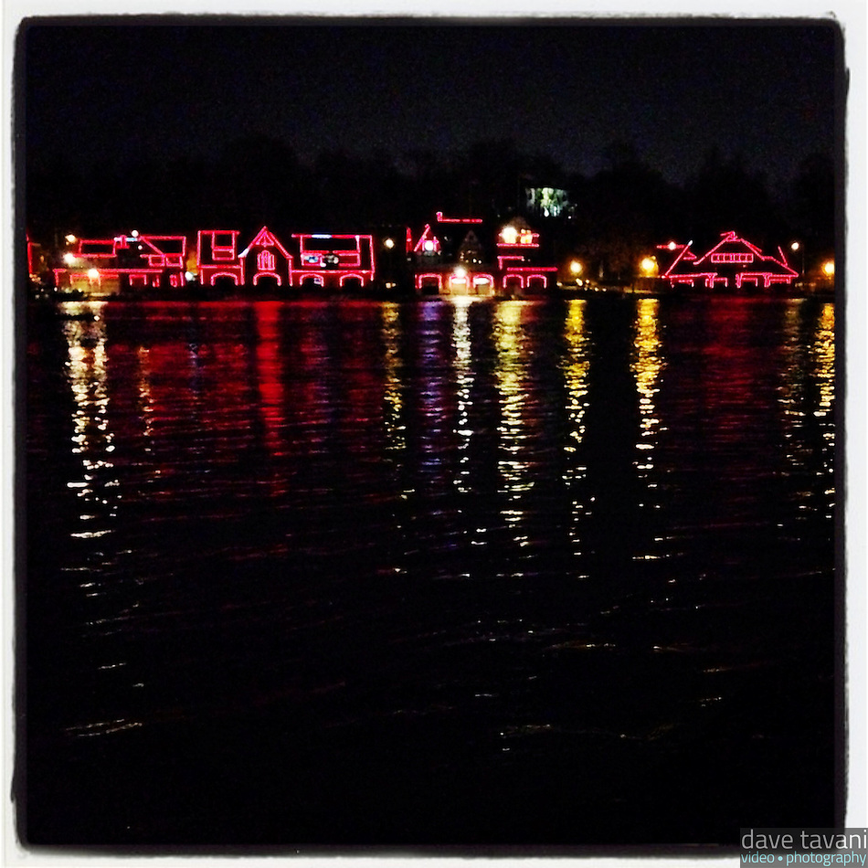 Boathouse Row is lit up red for heart awareness month on February 1, 2013. (Dave Tavani)