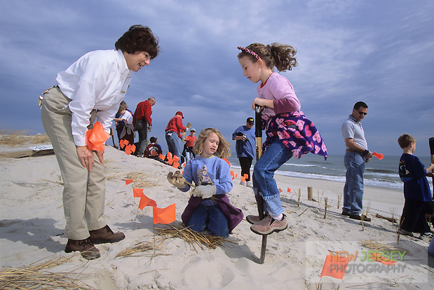 Naturalist & students, Beach grass planting program, Island Beach State Park, New Jersey (Steve Greer)