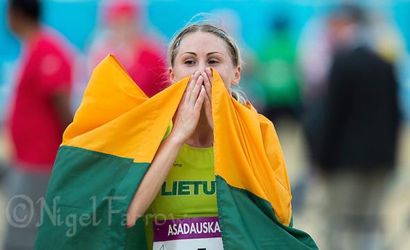 12 AUG 2012 - LONDON, GBR - Laura Asadauskaite (LTU) of Lithuania celebrates winning the women's London 2012 Olympic Games Modern Pentathlon in Greenwich Park, Greenwich, London, Great Britain (PHOTO (C) 2012 NIGEL FARROW) (NIGEL FARROW/(C) 2012 NIGEL FARROW)