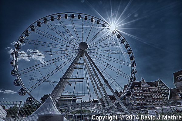 Gdansk Panoramic Wheel with Sunburst. Composite of three images taken with a Fuji X-T1 camera and Zeis-s 12 mm f/2.8 wide-angle lens (ISO 200, 12 mm, f/22, various). Raw images processed with Capture One Pro, HDR processed with Photoshop CC. (David J Mathre)