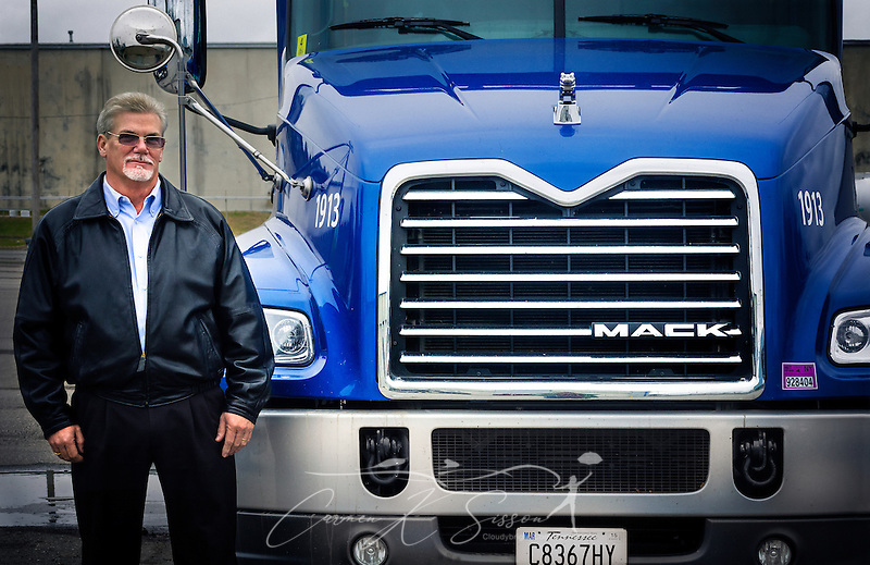 Larry Edwards, maintenance director at Highway Transport Chemical, stands beside a 2015 Mack Pinnacle truck, Dec. 17, 2014, at the company's headquarters in Knoxville, Tenn. HTC purchased 50 Pinnacles in 2014 and plan to purchase an additional 55 Pinnacles in 2015. (Photo by Carmen K. Sisson/Cloudybright) (Carmen K. Sisson/Cloudybright)